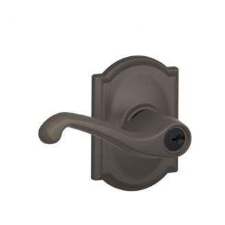 Schlage F51FLA613CAM Flair Keyed Entry Lever Set with Camelot Rose