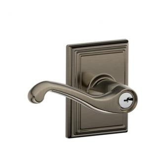 Schlage F51FLA620ADD Flair Keyed Entry Lever Knob Set with Addison Rose