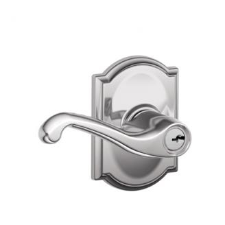 Schlage F51FLA625CAM Flair Keyed Entry Lever Set with Camelot Rose