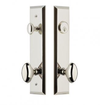 Grandeur Fifth Avenue Tall Plate Entrance Set with Choice of Knob or Lever Polished Nickel