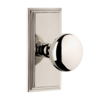 Grandeur Fifth Avenue Door Knob Set with Carre Short Plate Polished Nickel