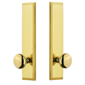 Grandeur Fifth Avenue Tall Plate with Choice of Knob or Lever Polished Brass