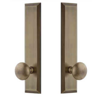 Grandeur Fifth Avenue Tall Plate with Choice of Knob or Lever Vintage Brass