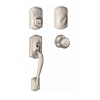 Schlage FE365 Camelot Keypad Front Entry with Georgian Knob Satin Nickel