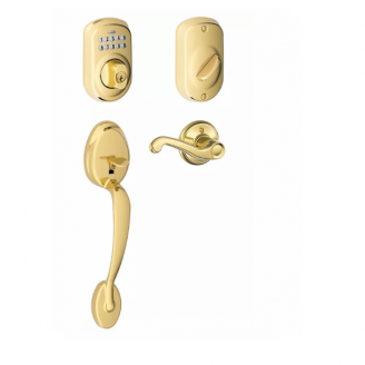 Schlage FE365-PLY Plymouth Keypad Handleset w/Flair lever Lifetime Bright Brass