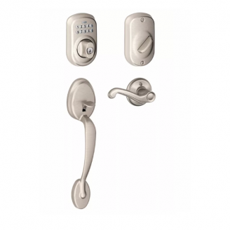 Schlage FE365-PLY Plymouth Keypad Handleset w/Flair lever Satin Nickel