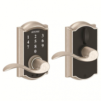 Schlage FE695CAM619ACC Camelot Touch™ Entry Lever Set with Accent Lever