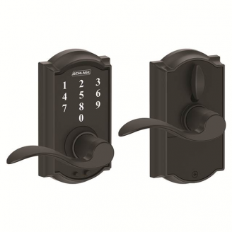 Schlage FE695CAM622ACC Camelot Touch™ Entry Lever Set with Accent Lever