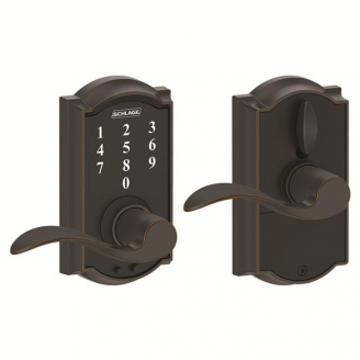 Schlage FE695CAM716ACC Camelot Touch™ Entry Lever Set with Accent Lever