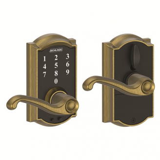 Schlage FE695CAM609FLA Camelot Touch™ Entry Lever Set with Flair Lever