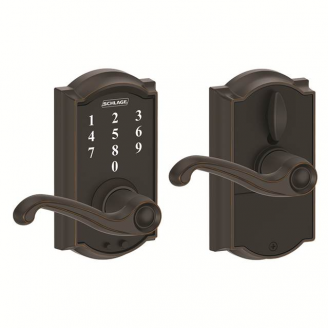 Schlage FE695CAM716FLA Camelot Touch™ Entry Lever Set with Flair Lever