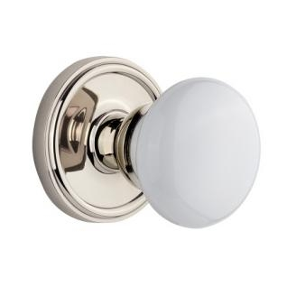 Grandeur Hyde Park Knob with Newport Rose Polished Nickel