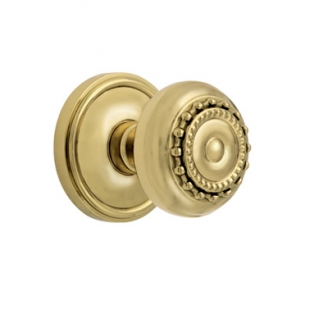 Grandeur Parthenon Knob with Georgetown Rose Polished Brass
