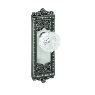 Granduer Windsor Backplate with Versailles knob Antique Pewter