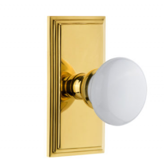 Grandeur Hyde Park Door Knob Set with Carre Short Plate Polished Brass
