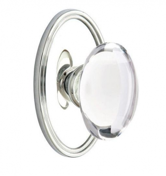 Emtek Hampton Door knob with Oval Rose Polished Chrome (US26)