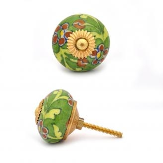 PotteryVille Brown Flower and Lime Green Leaf with Green Base knob