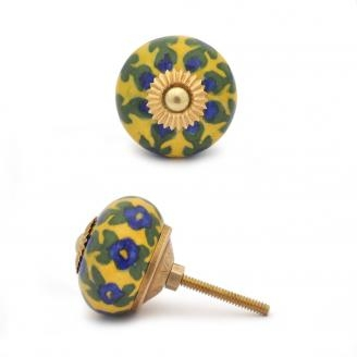 PotteryVille Blue Flower and Green Leaf with Yellow Base Knob
