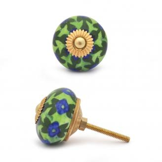 PotteryVille Blue Flower and Green Leaf with Lime Green Base Knob