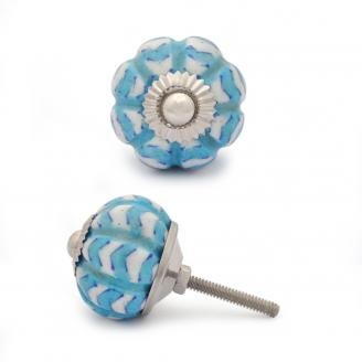 PotteryVille Turquoise and White Cabinet knob