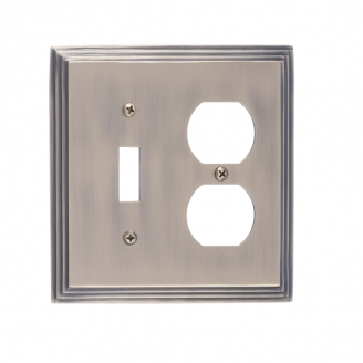 Brass Accents M02-S2540-609 Classic Steps -Single Switch and Single Outlet Plate