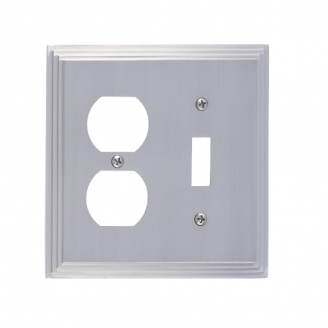 Brass Accents M02-S2540-619 Classic Steps -Single Switch and Single Outlet Plate