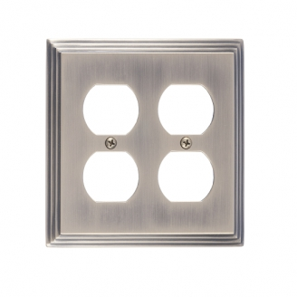 Brass Accents M02-S2560-609 Classic Steps Double Outlet Plate