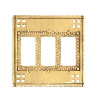 Brass Accents M05-S5690 Arts and Crafts Triple GFCI Switch Plate