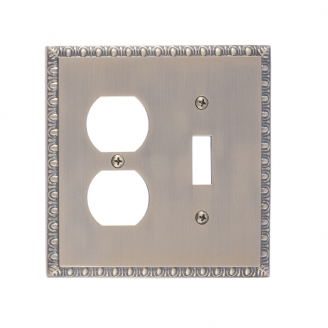Brass Accents M05-S7540-609 Egg & Dart Double-Single Switch and Single Outlet