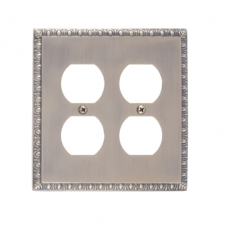 Brass Accents M05-S7560-609 Egg & Dart Double Outlet Plate