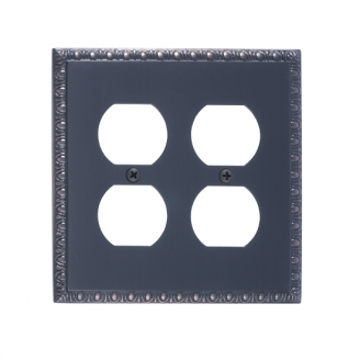 Brass Accents M05-S7560-613VB Egg & Dart Double Outlet Plate