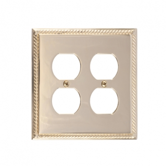 Brass Accents M06-S8560-605 Georgian Double Outlet Plate