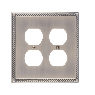 Brass Accents M06-S8560-609 Georgian Double Outlet Plate