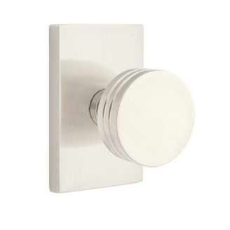 Emtek Bern Door Knob Set with Modern Rectangular Rose Satin Nickel (US15)