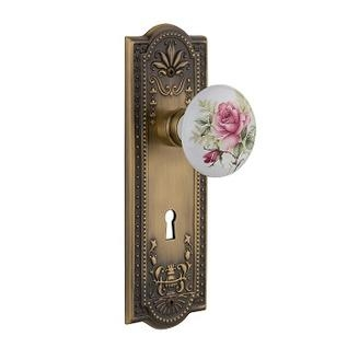 Nostalgic Warehouse Meadows Backplate with Rose Porcelain Knob