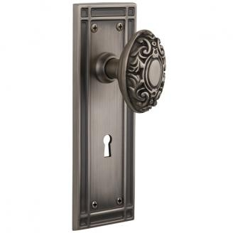 Nostalgic Warehouse Mission Backplate Privacy Mortise with Victorian Knob