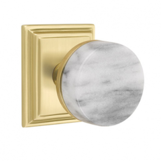 Emtek Select White Marble Door Knob Set with Conical Stem with Wilshire Rose in Satin Brass
