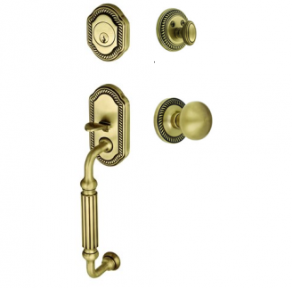 Grandeur Newport Handleset shown with the Fifth Ave. Knob in Vintage Brass (VB)