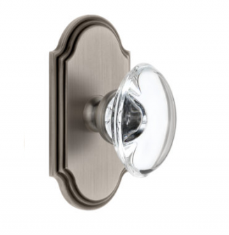 Grandeur Provence Crystal Door Knob Set with Arc Short Plate Antique Pewter