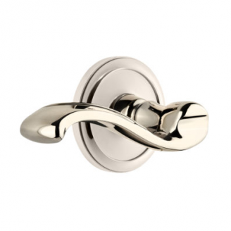 Grandeur Portofino Lever with Circulaire Rose Polished Nickel