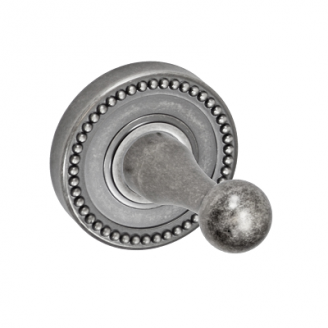Fusion Decorative Series Robe Hook with Beaded Rose Antique Pewter