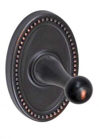 Fusion Decorative Series Robe Hook with Oval Beaded Rose Oil Rubbed Bronze