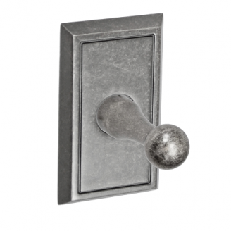 Fusion Decorative Series Robe Hook with Shaker Rose Antique Pewter
