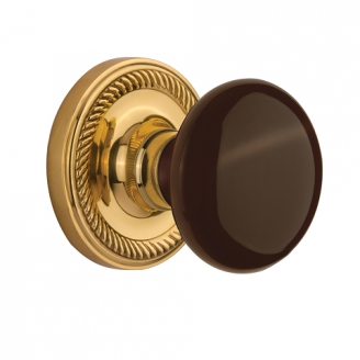 Nostalgic Warehouse Brown Porcelain Knob with Rope Rose Polished Brass