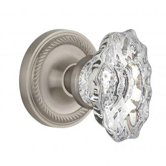 Nostalgic Warehouse Chateau Crystal Knob Privacy Mortise with Rope Rose SN