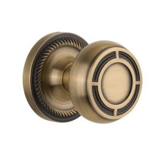 Nostalgic Warehouse ROPMIS Mission Knob Set with Rope Rose Antique Brass