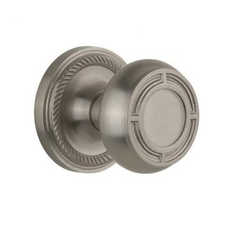 Nostalgic Warehouse Mission Knob Privacy Mortise with Rope Rose Satin Nickel