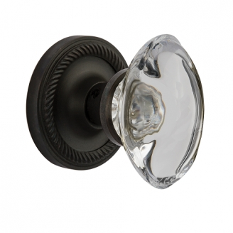 Nostalgic Warehouse Oval Crystal Knob Set with Rope Rose Oil Oil Rubbed Bronze