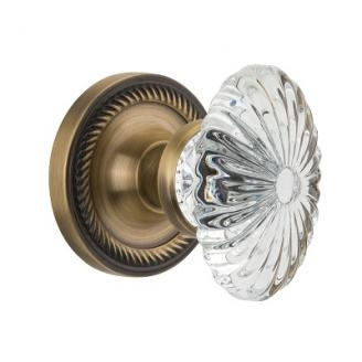 Nostalgic Warehouse Oval Fluted Crystal Knob with Rope Rose Antique Brass