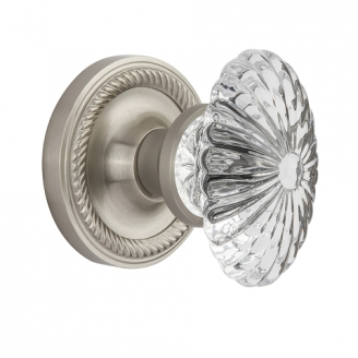 Nostalgic Warehouse Oval Fluted Crystal Knob with Rope Rose Satin Nickel